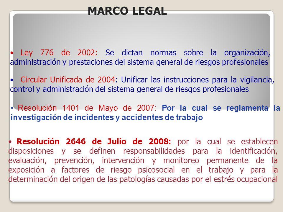 Ley 776 de 2002: Se dictan normas sobre la organización, administración y prestaciones del sistema general de riesgos profesionales Circular Unificada