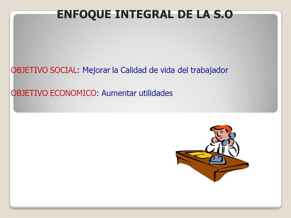 OBJETIVO SOCIAL: Mejorar la Calidad de vida del trabajador OBJETIVO ECONOMICO: Aumentar utilidades ENFOQUE INTEGRAL DE LA S.O