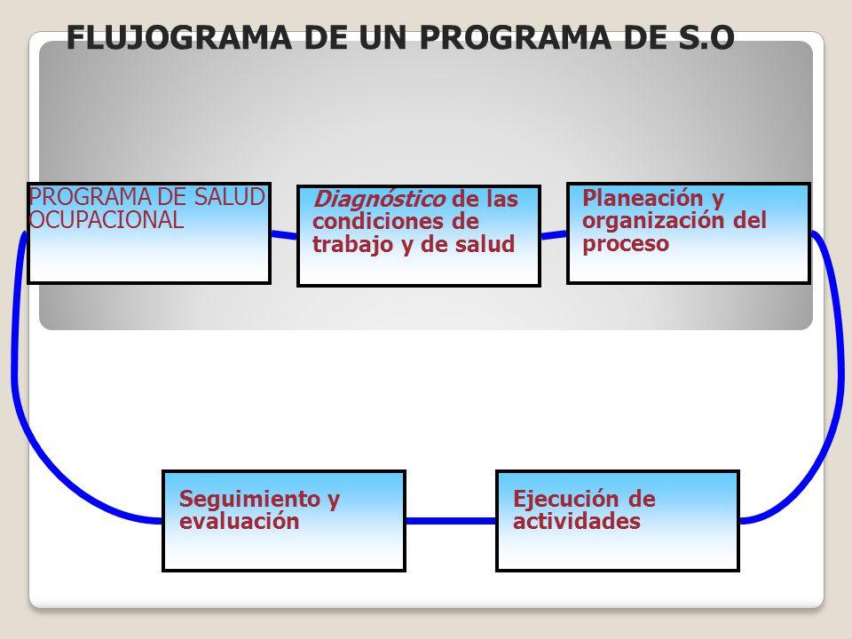 PROGRAMA DE SALUD OCUPACIONAL Diagnóstico de las condiciones de trabajo y de salud Planeación y organización del proceso Seguimiento y evaluación Ejec