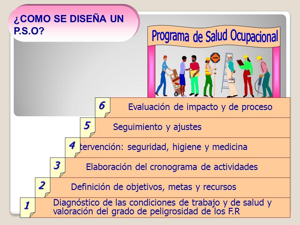 Diagnóstico de las condiciones de trabajo y de salud y valoración del grado de peligrosidad de los F.R Definición de objetivos, metas y recursos Elabo