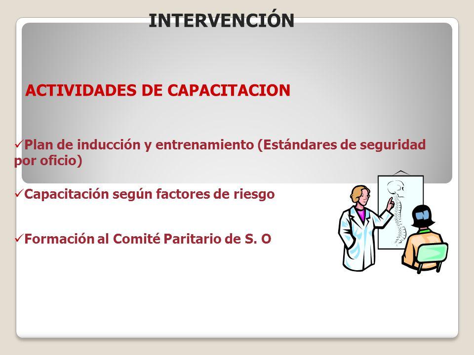 Plan de inducción y entrenamiento (Estándares de seguridad por oficio) Capacitación según factores de riesgo Formación al Comité Paritario de S. O ACT