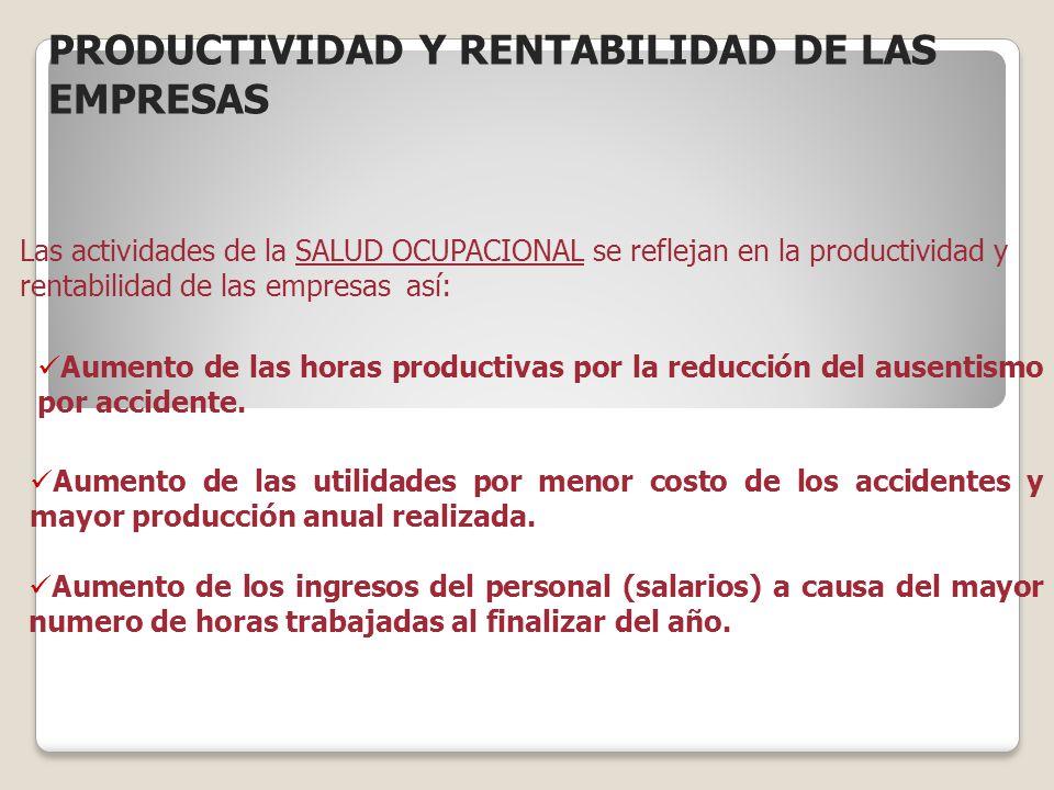 PRODUCTIVIDAD Y RENTABILIDAD DE LAS EMPRESAS Las actividades de la SALUD OCUPACIONAL se reflejan en la productividad y rentabilidad de las empresas as