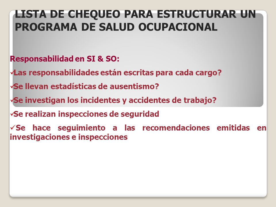 Responsabilidad en SI & SO: Las responsabilidades están escritas para cada cargo? Se llevan estadísticas de ausentismo? Se investigan los incidentes y