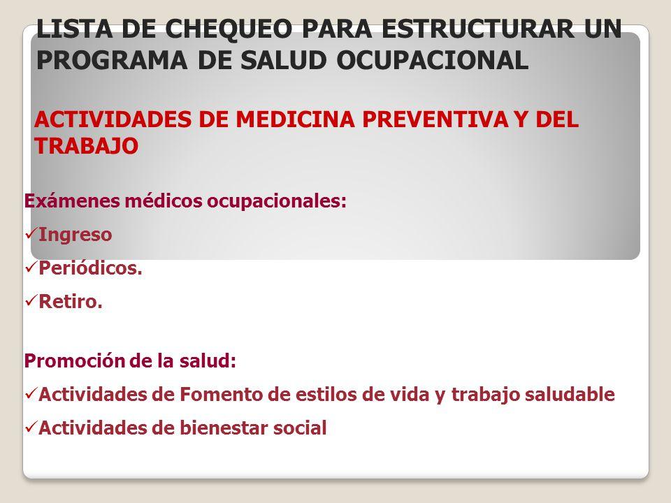 ACTIVIDADES DE MEDICINA PREVENTIVA Y DEL TRABAJO Exámenes médicos ocupacionales: Ingreso Periódicos. Retiro. Promoción de la salud: Actividades de Fom