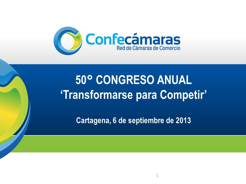 1 50° CONGRESO ANUAL Transformarse para Competir Cartagena, 6 de septiembre de 2013
