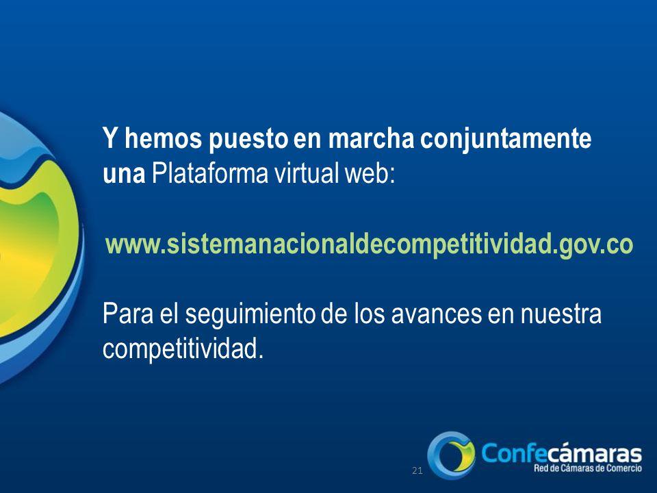 Y hemos puesto en marcha conjuntamente una Plataforma virtual web: www.sistemanacionaldecompetitividad.gov.co Para el seguimiento de los avances en nuestra competitividad.