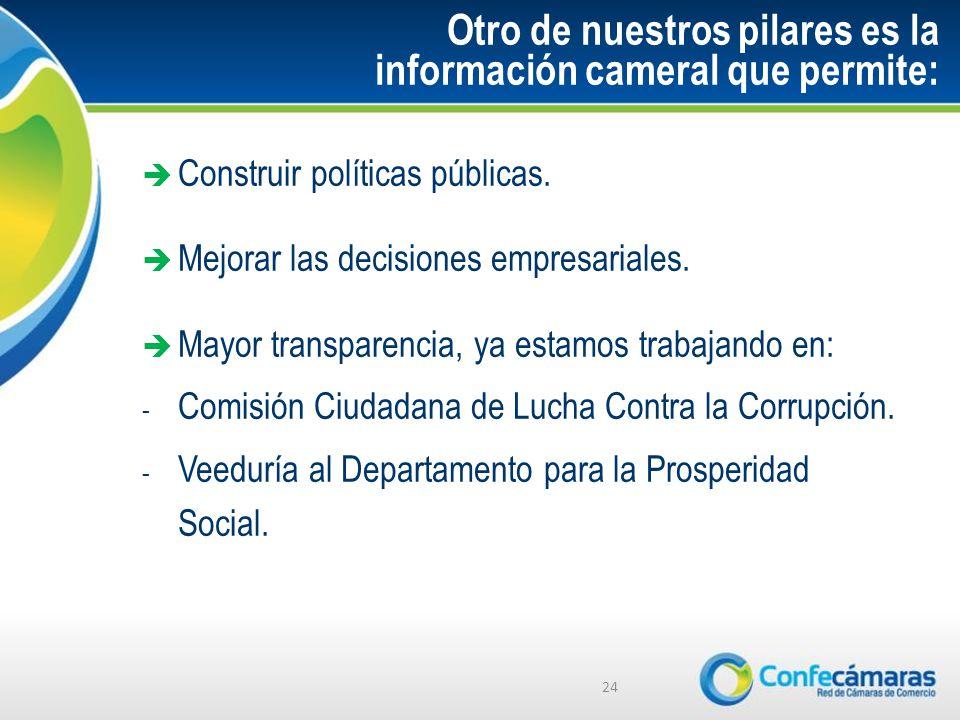 Otro de nuestros pilares es la información cameral que permite: Construir políticas públicas.