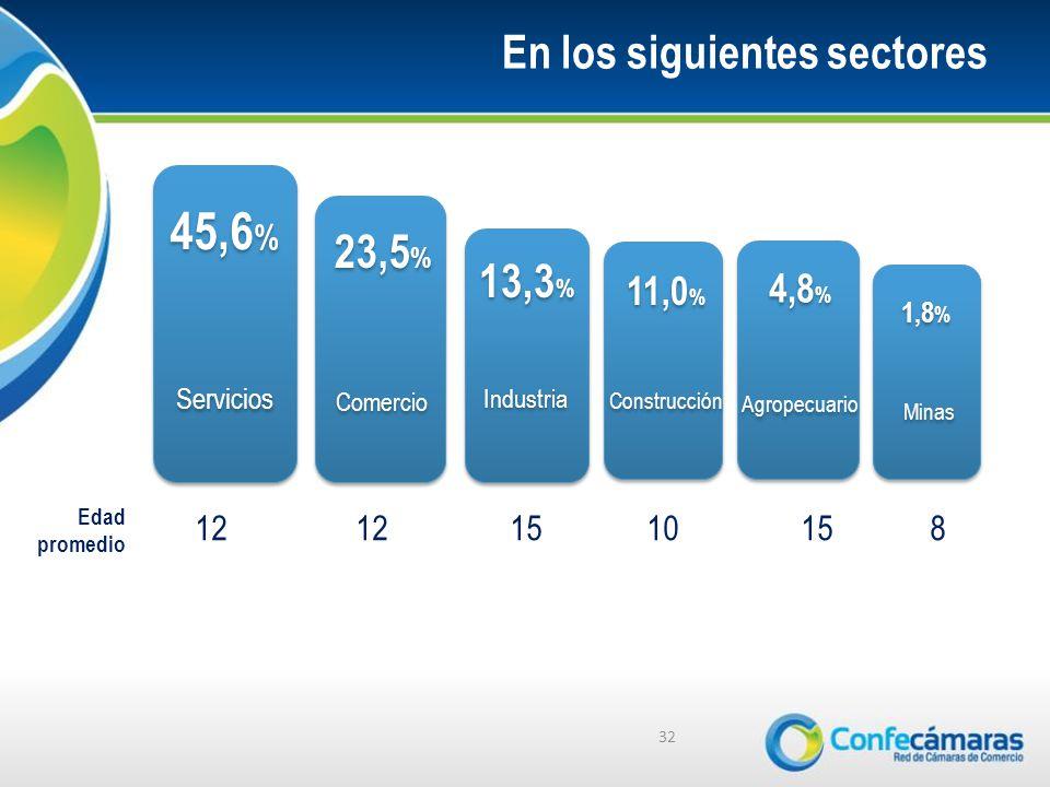 En los siguientes sectores 32 45,6 % 23,5 % 13,3 % 11,0 % 4,8 % 1,8 % Servicios Comercio Industria Construcción Agropecuario Minas 12 12 15 1015 8 Edad promedio