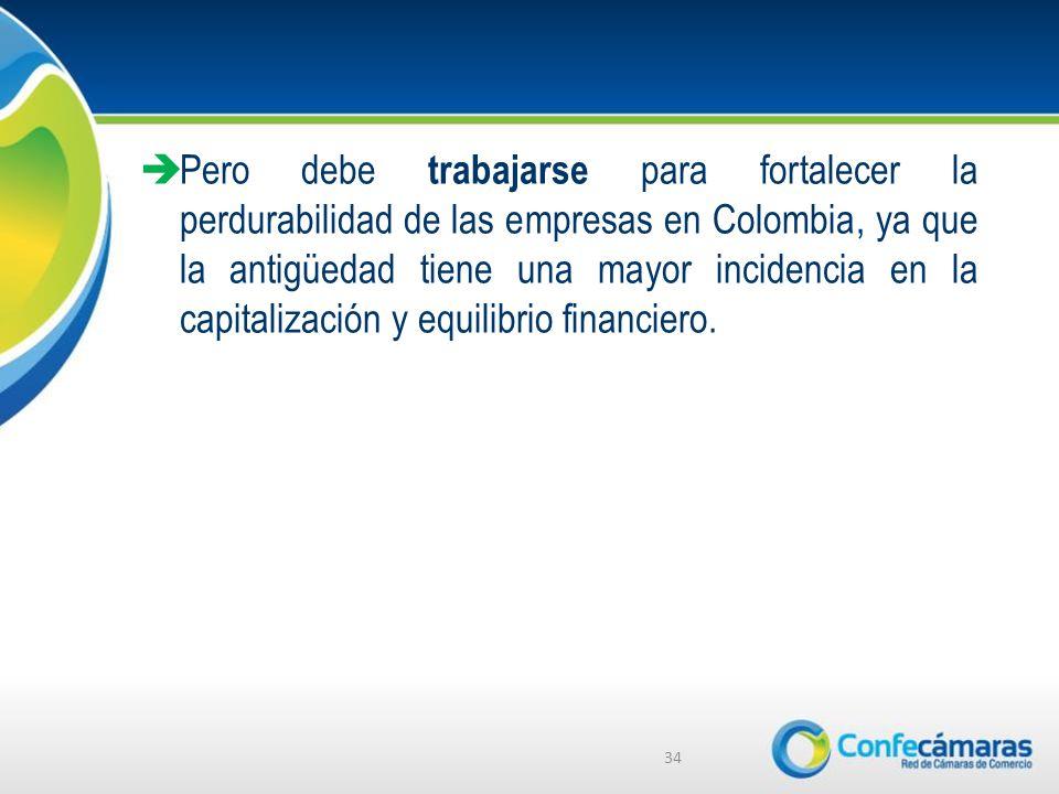 Pero debe trabajarse para fortalecer la perdurabilidad de las empresas en Colombia, ya que la antigüedad tiene una mayor incidencia en la capitalización y equilibrio financiero.