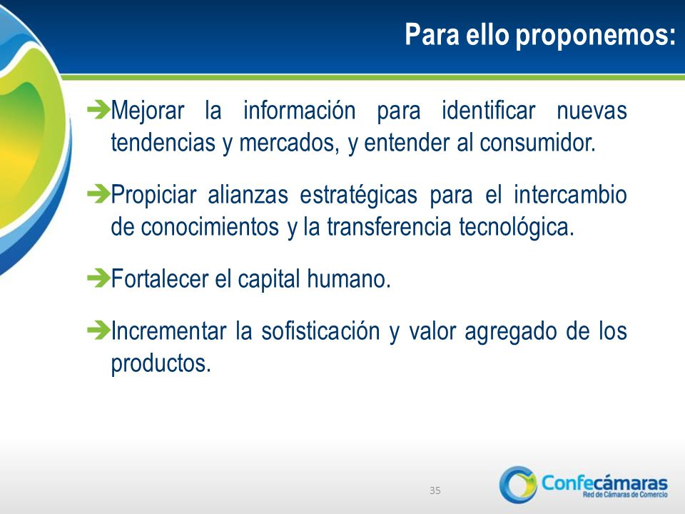 Para ello proponemos: Mejorar la información para identificar nuevas tendencias y mercados, y entender al consumidor.