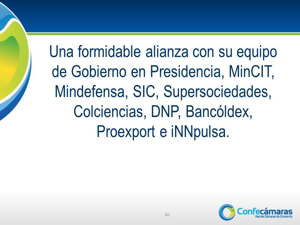 Una formidable alianza con su equipo de Gobierno en Presidencia, MinCIT, Mindefensa, SIC, Supersociedades, Colciencias, DNP, Bancóldex, Proexport e iNNpulsa.