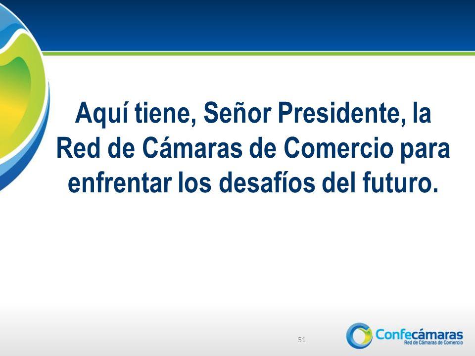 Aquí tiene, Señor Presidente, la Red de Cámaras de Comercio para enfrentar los desafíos del futuro.