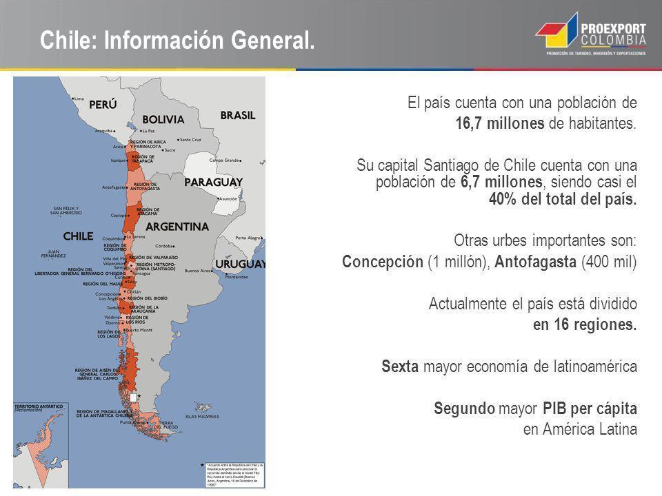 Chile: Información General. El país cuenta con una población de 16,7 millones de habitantes. Su capital Santiago de Chile cuenta con una población de