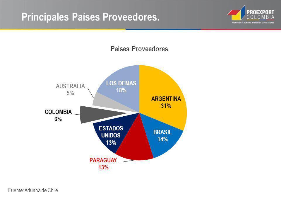 Principales Países Proveedores. Fuente: Aduana de Chile