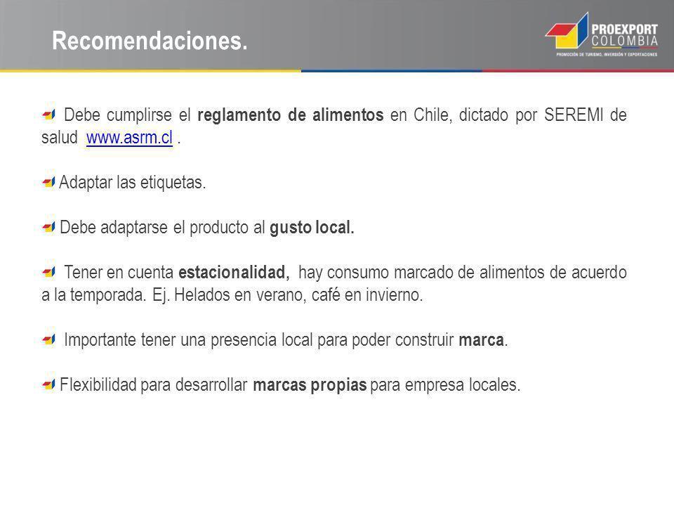 Recomendaciones. Debe cumplirse el reglamento de alimentos en Chile, dictado por SEREMI de salud www.asrm.cl.www.asrm.cl Adaptar las etiquetas. Debe a