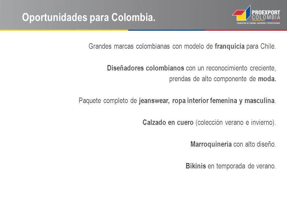 Oportunidades para Colombia. Grandes marcas colombianas con modelo de franquicia para Chile. Diseñadores colombianos con un reconocimiento creciente,