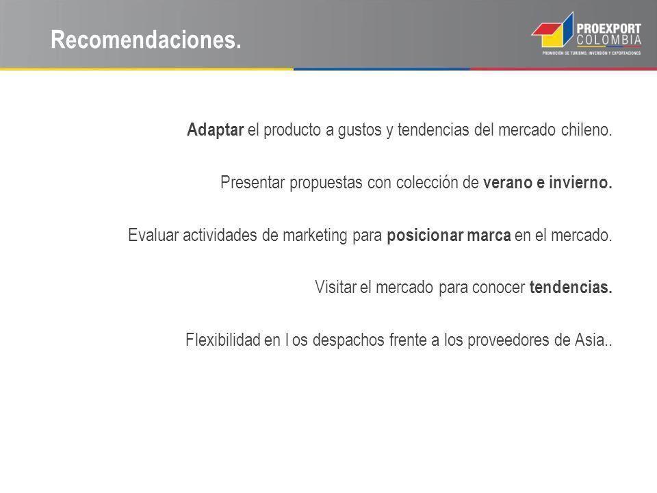 Recomendaciones. Adaptar el producto a gustos y tendencias del mercado chileno. Presentar propuestas con colección de verano e invierno. Evaluar activ