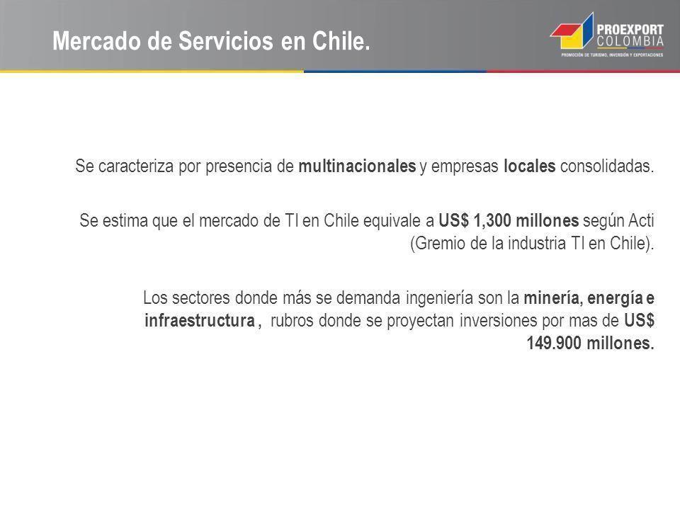 Mercado de Servicios en Chile. Se caracteriza por presencia de multinacionales y empresas locales consolidadas. Se estima que el mercado de TI en Chil