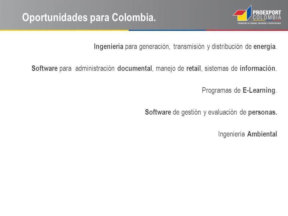 Oportunidades para Colombia. Ingeniería para generación, transmisión y distribución de energía. Software para administración documental, manejo de ret