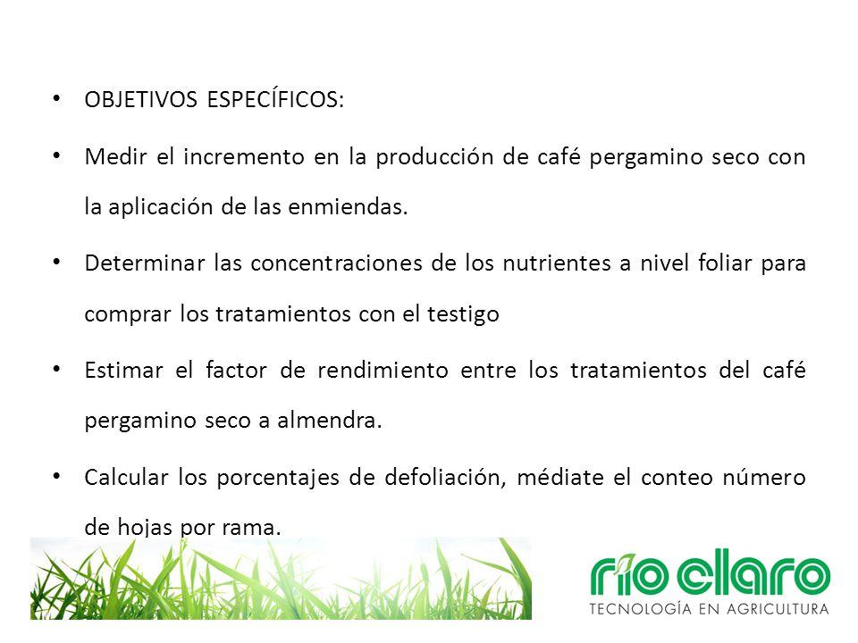 OBJETIVOS ESPECÍFICOS: Medir el incremento en la producción de café pergamino seco con la aplicación de las enmiendas. Determinar las concentraciones