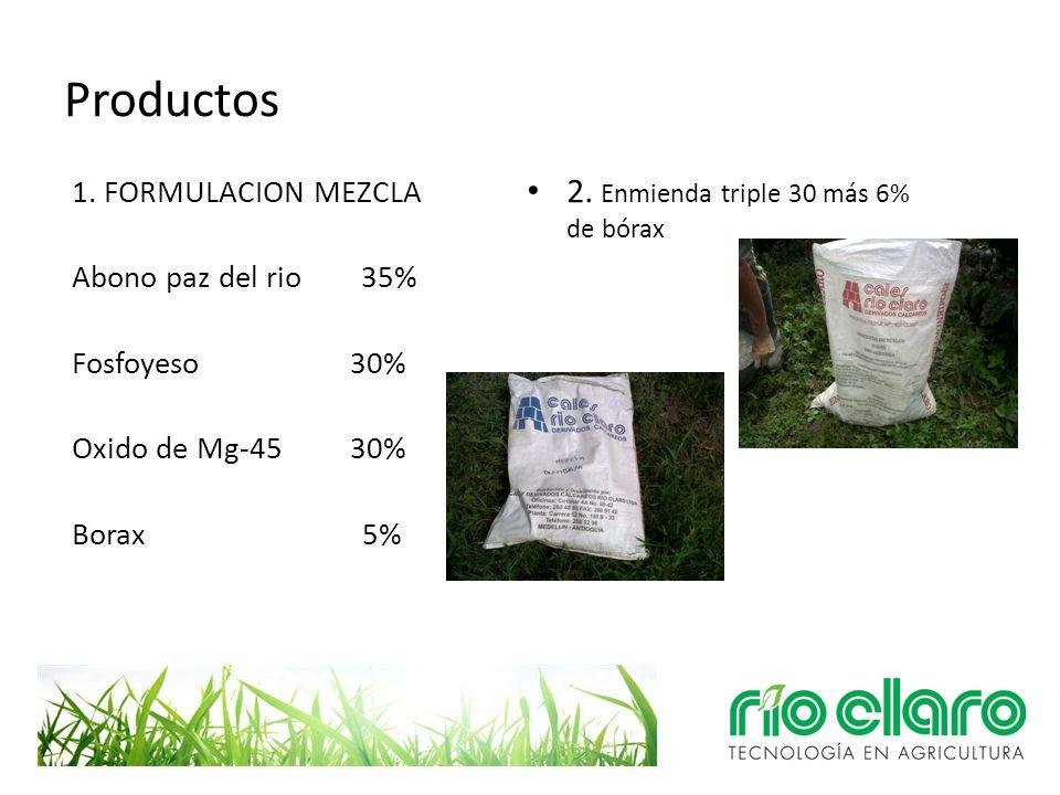 Productos 1. FORMULACION MEZCLA Abono paz del rio 35% Fosfoyeso 30% Oxido de Mg-45 30% Borax 5% 2. Enmienda triple 30 más 6% de bórax