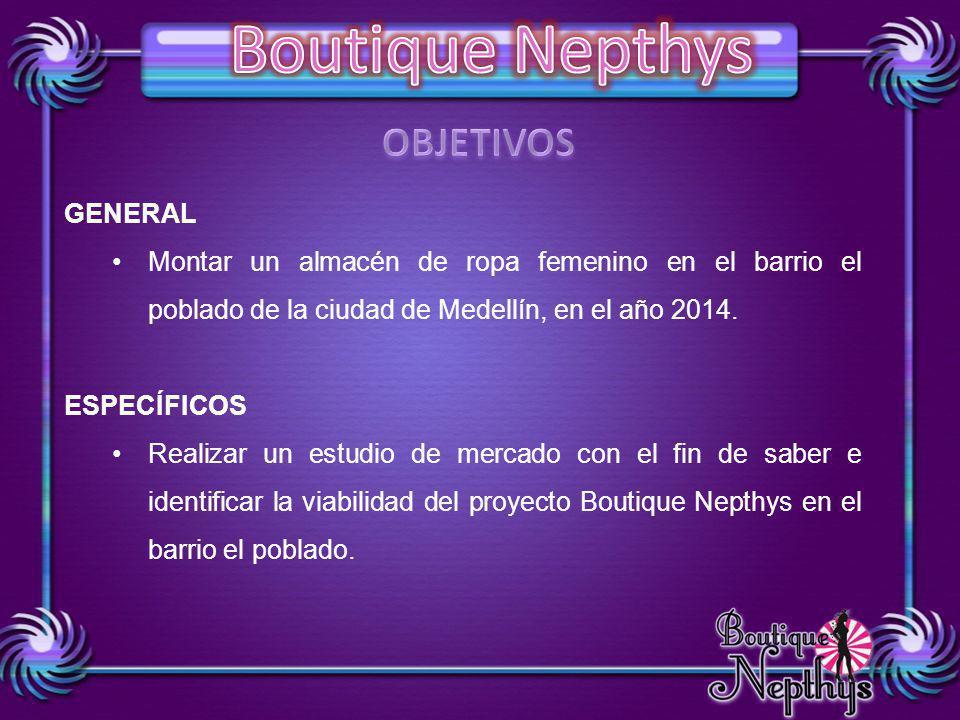 GENERAL Montar un almacén de ropa femenino en el barrio el poblado de la ciudad de Medellín, en el año 2014. ESPECÍFICOS Realizar un estudio de mercad