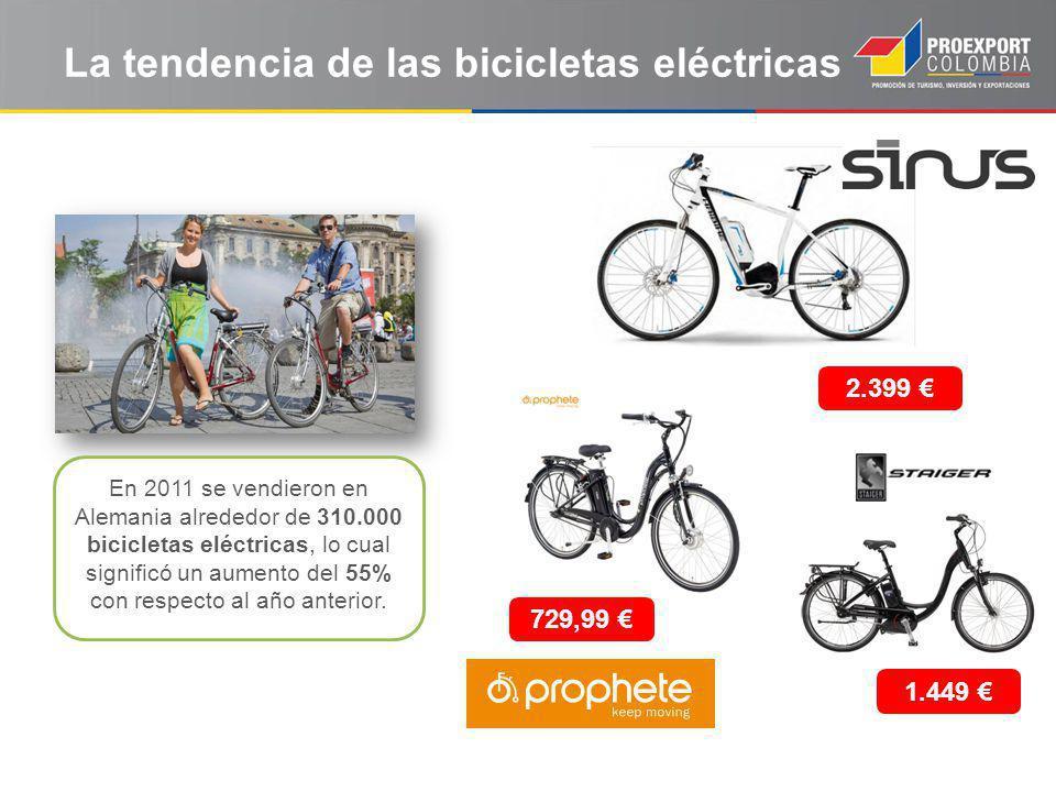 La tendencia de las bicicletas eléctricas En 2011 se vendieron en Alemania alrededor de 310.000 bicicletas eléctricas, lo cual significó un aumento del 55% con respecto al año anterior.