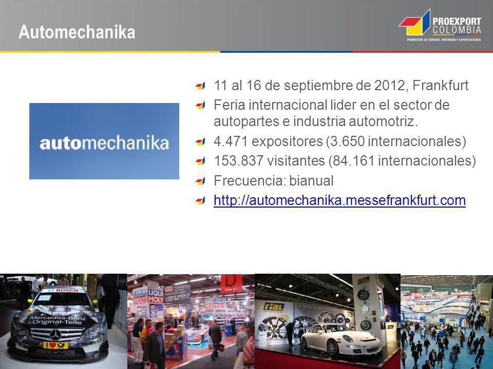 Automechanika 11 al 16 de septiembre de 2012, Frankfurt Feria internacional lider en el sector de autopartes e industria automotriz.