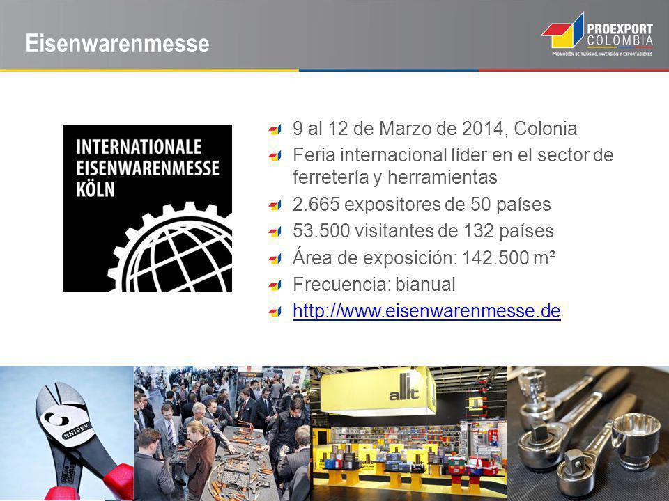 Eisenwarenmesse 9 al 12 de Marzo de 2014, Colonia Feria internacional líder en el sector de ferretería y herramientas 2.665 expositores de 50 países 53.500 visitantes de 132 países Área de exposición: 142.500 m² Frecuencia: bianual http://www.eisenwarenmesse.de
