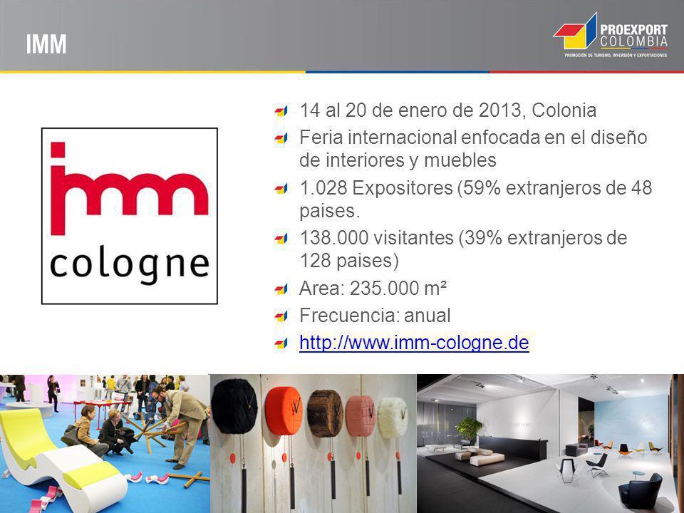 IMM 14 al 20 de enero de 2013, Colonia Feria internacional enfocada en el diseño de interiores y muebles 1.028 Expositores (59% extranjeros de 48 paises.