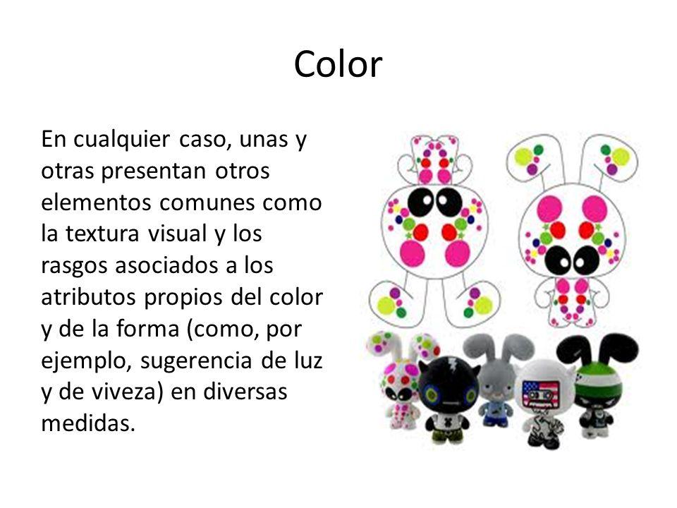 Color En cualquier caso, unas y otras presentan otros elementos comunes como la textura visual y los rasgos asociados a los atributos propios del colo