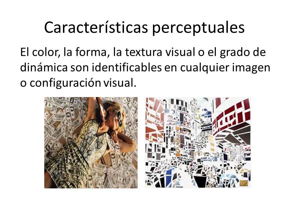 Características perceptuales El color, la forma, la textura visual o el grado de dinámica son identificables en cualquier imagen o configuración visua