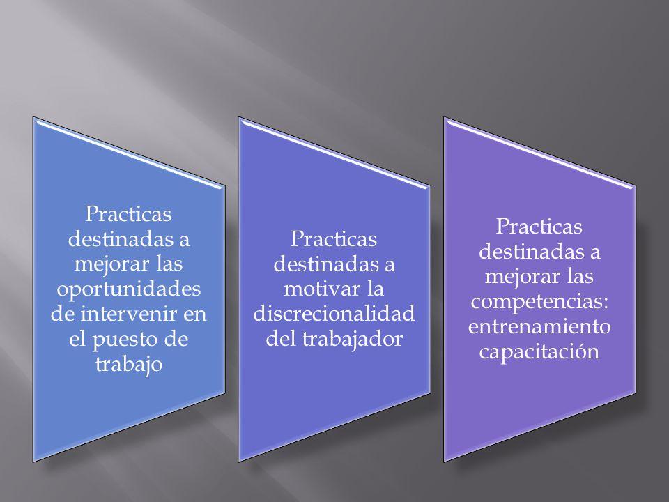 Practicas destinadas a mejorar las oportunidades de intervenir en el puesto de trabajo Practicas destinadas a motivar la discrecionalidad del trabajad