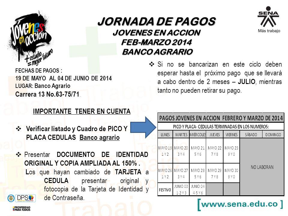 JORNADA DE PAGOS JOVENES EN ACCION FEB-MARZO 2014 BANCO AGRARIO BANCO AGRARIO FECHAS DE PAGOS : 19 DE MAYO AL 04 DE JUNIO DE 2014 LUGAR: Banco Agrario