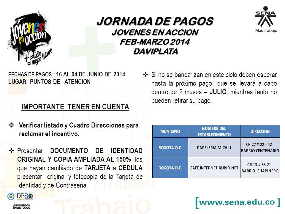 JORNADA DE PAGOS JOVENES EN ACCION FEB-MARZO 2014 DAVIPLATA DAVIPLATA FECHAS DE PAGOS : 16 AL 04 DE JUNIO DE 2014 LUGAR: PUNTOS DE ATENCION. IMPORTANT