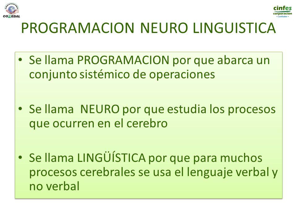 PROGRAMACION NEURO LINGUISTICA Se llama PROGRAMACION por que abarca un conjunto sistémico de operaciones Se llama NEURO por que estudia los procesos q