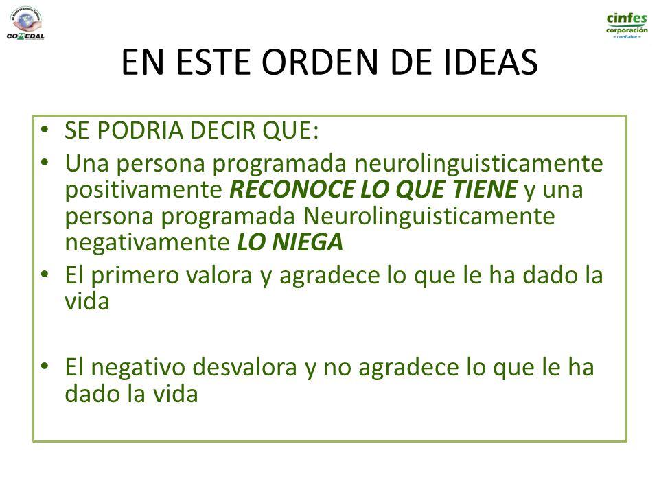 EN ESTE ORDEN DE IDEAS SE PODRIA DECIR QUE: Una persona programada neurolinguisticamente positivamente RECONOCE LO QUE TIENE y una persona programada