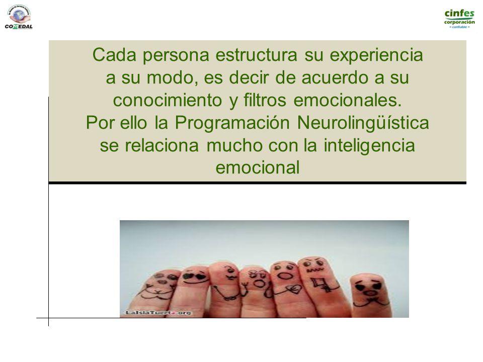 Cada persona estructura su experiencia a su modo, es decir de acuerdo a su conocimiento y filtros emocionales. Por ello la Programación Neurolingüísti