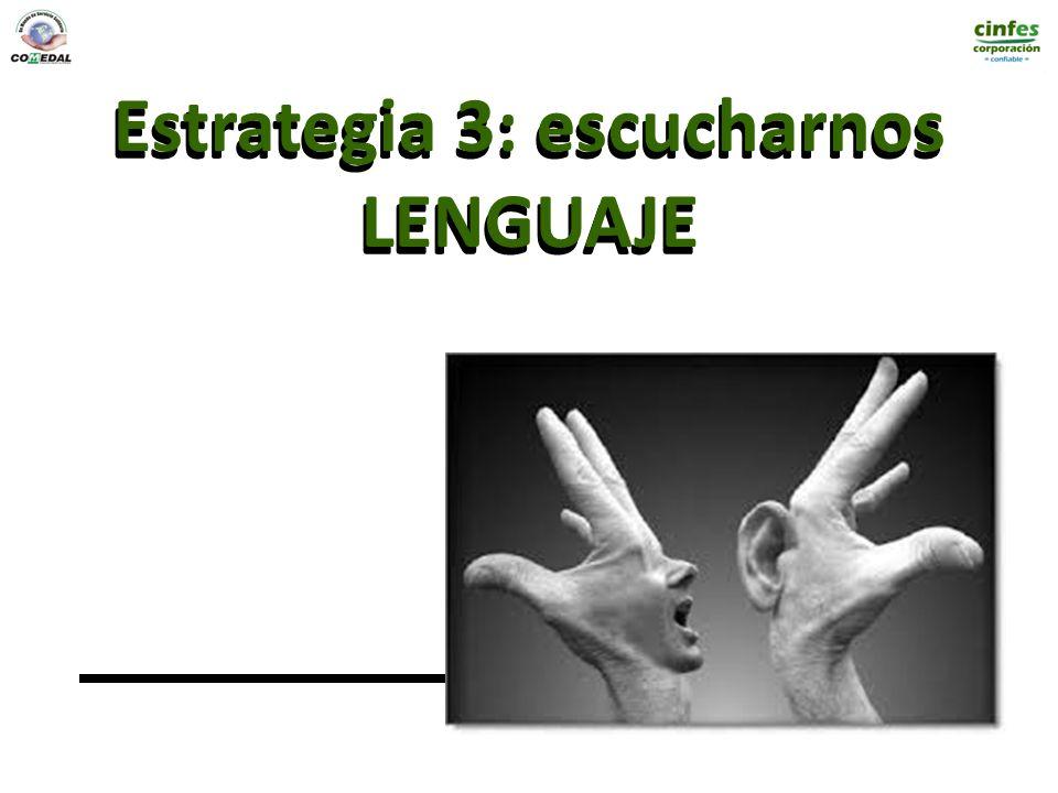 Estrategia 3: escucharnos LENGUAJE Estrategia 3: escucharnos LENGUAJE