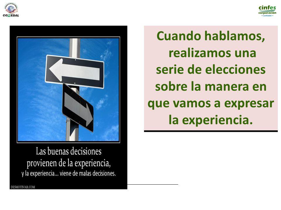 Cuando hablamos, realizamos una serie de elecciones sobre la manera en que vamos a expresar la experiencia. Cuando hablamos, realizamos una serie de e