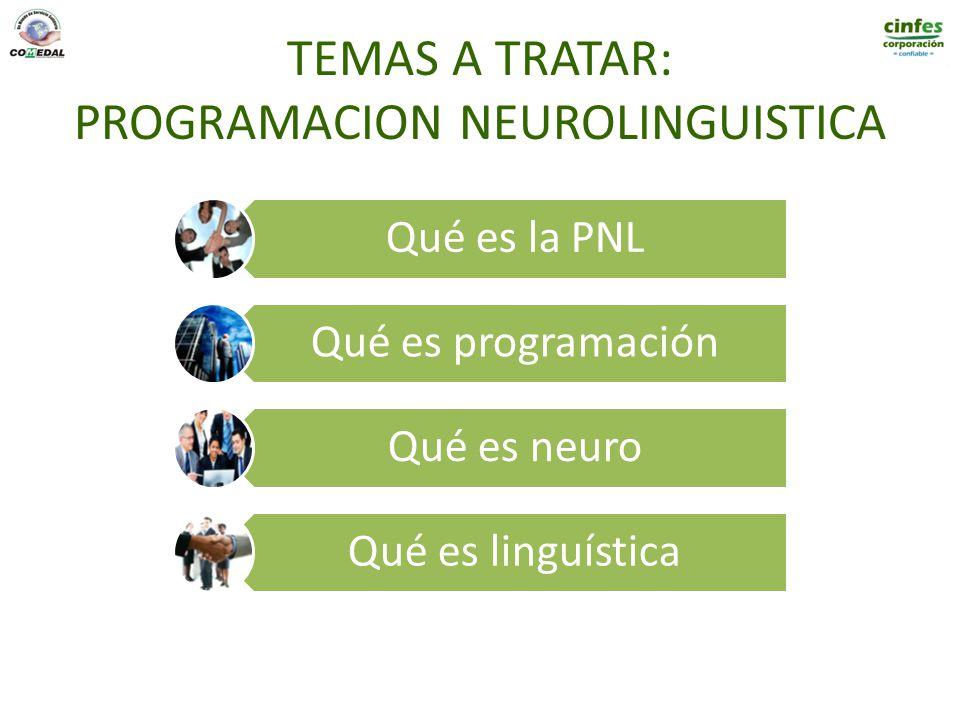 TEMAS A TRATAR: PROGRAMACION NEUROLINGUISTICA Qué es la PNL Qué es programación Qué es neuro Qué es linguística