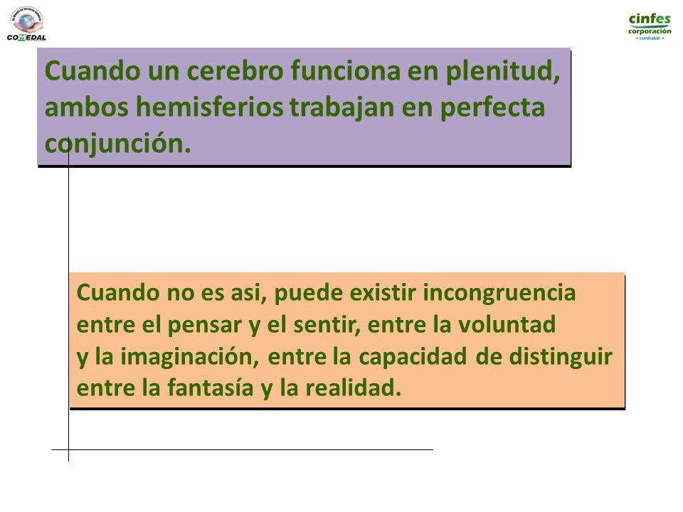 Cuando un cerebro funciona en plenitud, ambos hemisferios trabajan en perfecta conjunción. Cuando un cerebro funciona en plenitud, ambos hemisferios t