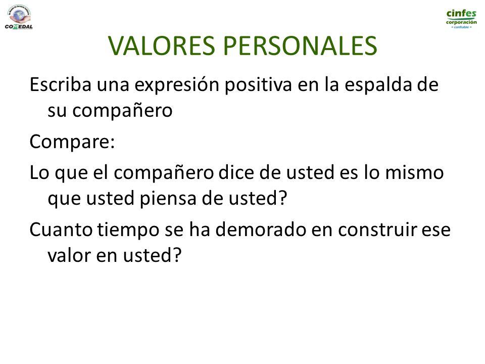 VALORES PERSONALES Escriba una expresión positiva en la espalda de su compañero Compare: Lo que el compañero dice de usted es lo mismo que usted piens
