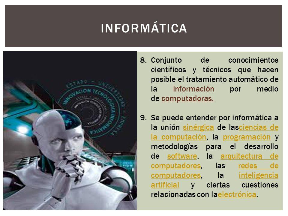 INFORMÁTICA. 8.Conjunto de conocimientos científicos y técnicos que hacen posible el tratamiento automático de la información por medio de computadora