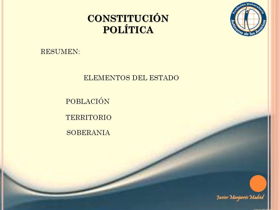 CONSTITUCIÓN POLÍTICA RESUMEN: ELEMENTOS DEL ESTADO TERRITORIO POBLACIÓN SOBERANIA
