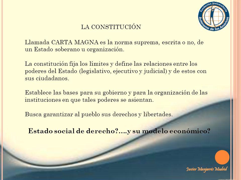Llamada CARTA MAGNA es la norma suprema, escrita o no, de un Estado soberano u organización. La constitución fija los límites y define las relaciones