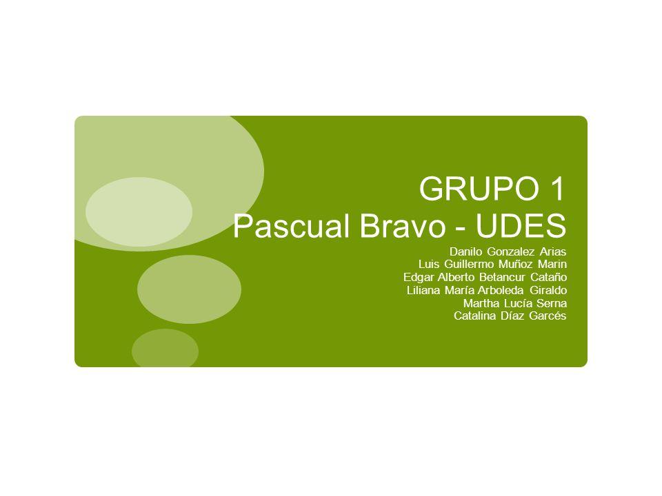 GRUPO 1 Pascual Bravo - UDES Danilo Gonzalez Arias Luis Guillermo Muñoz Marin Edgar Alberto Betancur Cataño Liliana María Arboleda Giraldo Martha Lucí