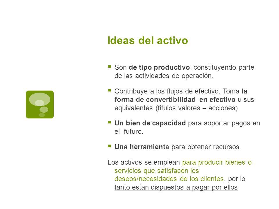 Ideas del activo Son de tipo productivo, constituyendo parte de las actividades de operación. Contribuye a los flujos de efectivo. Toma la forma de co
