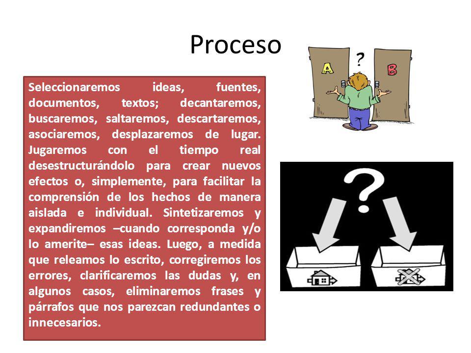 Búsqueda de datos, consecución de fuentes; toma de notas; transcripción de entrevistas; formulación de esquemas de trabajo y de esquemas de desarrollo del texto
