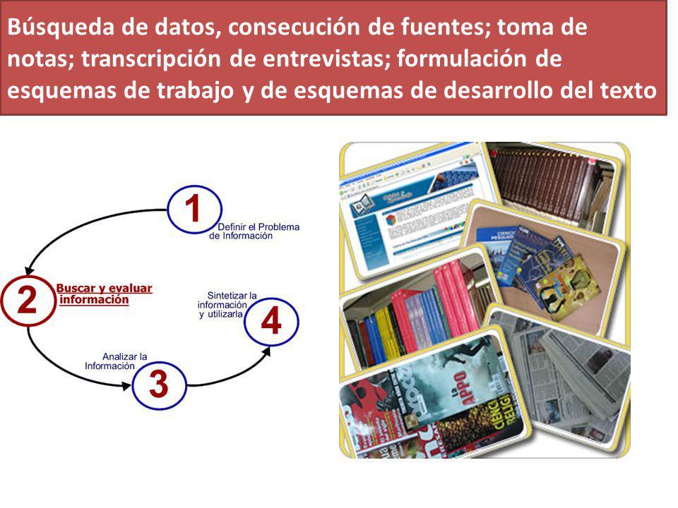 Búsqueda de datos, consecución de fuentes; toma de notas; transcripción de entrevistas; formulación de esquemas de trabajo y de esquemas de desarrollo